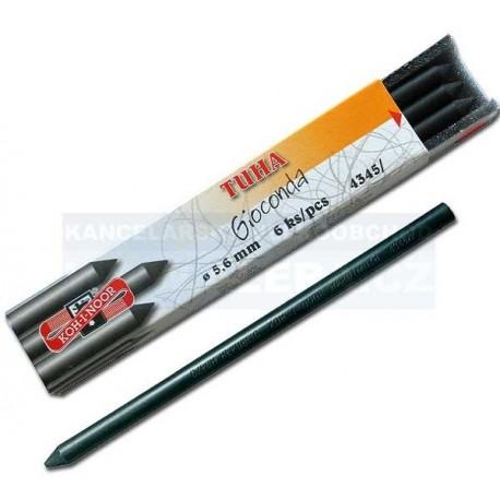 Zboží na objednávku - Tuha křída černá kreslířská Koh-i-noor 4345 6ks tvrdosti č.2 v jednom balení