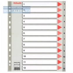 VÝPRODEJ - Rozřaďovač A4+ 1-12 listů plastový šedý Esselte 100125