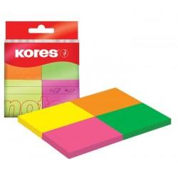 Lepicí bloček Kores 40x50mm 4x 50 lístků neon 4barvy