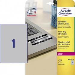 Etikety Avery Zweckform L6013-20 stříbrné typové štítky 210x297mm 20ks