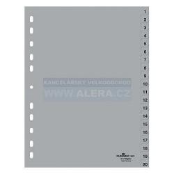 Rozřaďovač A4 1-20 listů plastový šedý Durable 6522
