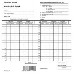 Tiskopis Kontrolní lístek - dvojitá píchačka, OPT 1145