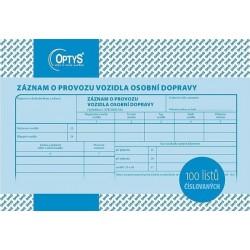 Tiskopis Záznam o provozu vozidla osobní dopravy A5, OPT 1177