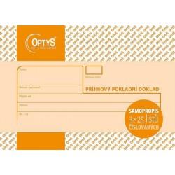 Tiskopis Příjmový pokladní doklad A6 PPD, samopropis., číslovaný, 3x25 listů, OPT 1082