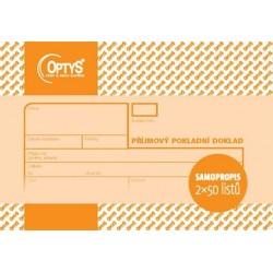 Tiskopis Příjmový pokladní doklad A6 PPD, samopropis., nečíslovaný, 2x50 listů, OPT 1091