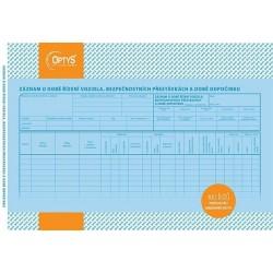 Tiskopis Záznam o době řízení vozidla a bezp. přestávkách, OPT 1174