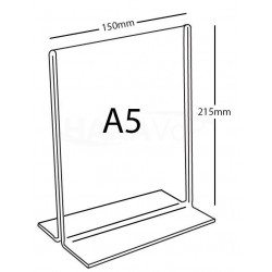 Stojánek PX-T A5 na výšku čirá plexisklo