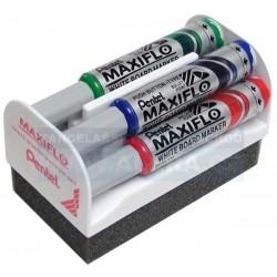 Zboží na objednávku - Popisovač bílá tabule Pentel MAXIFLO MWL5M-4N/4ks sada barev 6mm + houba