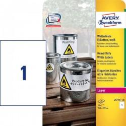 Zboží na objednávku - Etikety Avery Zweckform L4775-20 odolné vlivům počasí bílé 20 listů A4