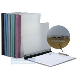 Deska psací podložka Dmold A4 2cm klip dvojitá plast PP fialový hřbet