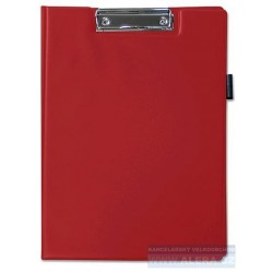 Deska psací podložka dvojitá A4 horní klip držák na tužky červená