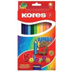 Pastelky JUMBO 12ks Kores trojhranné s ořezávátkem 5mm
