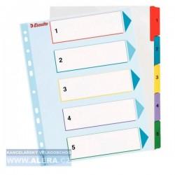 VÝPRODEJ - Rozřaďovač A4+ 1- 5 listů papírový barevný Esselte Mylar 100207