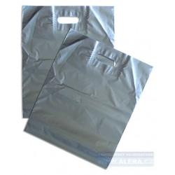 Taška PE průhmat 1ks 38x44cm 45mic stříbrná metalická [ POUZE PO 50-ti ks ]