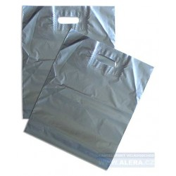 Taška PE průhmat 1ks 38x44cm 45mic stříbrná metalická