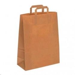 Taška papírová 32+15x43cm ploché ucho 1ks EKO hnědá přírodní