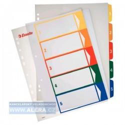 Rozřaďovač A4+ 1- 5 listů plastový barevný Esselte 100211
