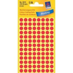 Etikety Avery Zweckform 3010 červené kolečko 8mm 416ks