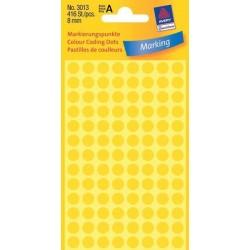 Etikety Avery Zweckform 3013 žluté kolečko 8mm 416ks