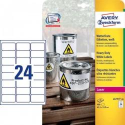 Zboží na objednávku - Etikety Avery Zweckform L4773-20 odolné vlivům počasí bílé 63,5x33,9mm 480ks