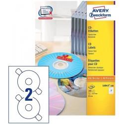 Etikety Avery Zweckform L6043-100 bílé na CD 200ks