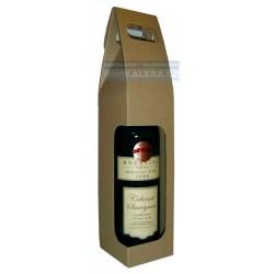 Dárková taška 8x33+8cm na láhev 1ks lepenka hnědá