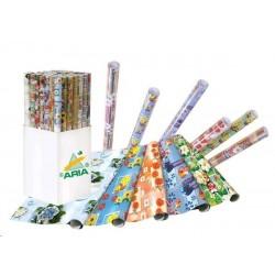 VÝPRODEJ - Papír balicí dárkový ROLIČKY ARIA 2ks 1m x 70cm - MIX motivů