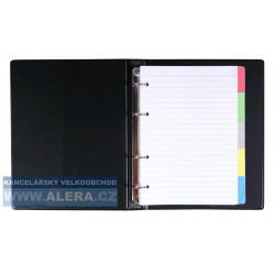 Blok Karis kroužkový A5 plast barevný registr + náplň černý