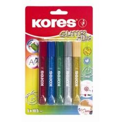 Zboží na objednávku - Lepidlo Kores Glitter glue sada/5ks barevné lepidlo se třpytkami