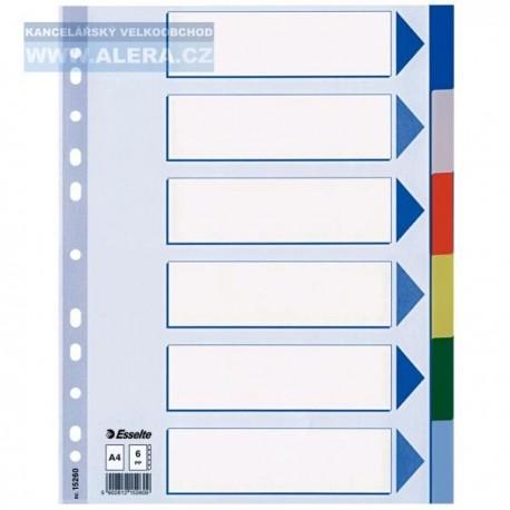 Rozřaďovač A4 6 listů barevný plastový Esselte 15260