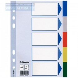 Rozřaďovač A5 5 listů barevný plast Esselte 15264