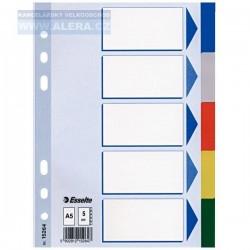 VÝPRODEJ - Rozřaďovač A5 5 listů barevný plast Esselte 15264