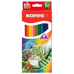 Pastelky akvarelové 12ks Kores s ořezávátkem a štětcem