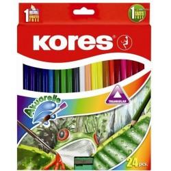 Zboží na objednávku - Pastelky akvarelové 24ks Kores s ořezávátkem a štětcem