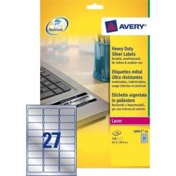 Zboží na objednávku - Etikety Avery Zweckform L6011-20 stříbrné typové štítky 63,5x29,6mm 540ks