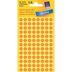Zboží na objednávku - Etikety Avery Zweckform 3178 neon oranžové kolečko 8mm 416ks
