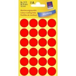 Etikety Avery Zweckform 3172 neon červené kolečko 18mm 96ks