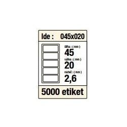 Etikety v kotoučku 45x20mm 5000ks střed 40mm pro termotiskárny bílé