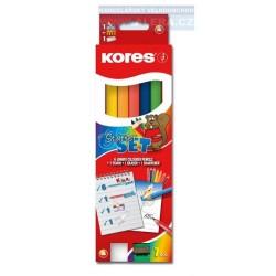 Zboží na objednávku - Pastelky JUMBO 6ks Kores trojhranné Starter set s ořezávátkem + tužka 5mm