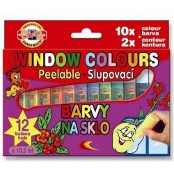 Zboží na objednávku - Barva na sklo slupovací 10x10,5ml +2xkontura Koh-i-noor 9739