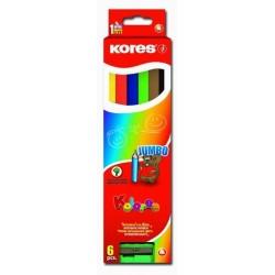 Pastelky JUMBO 6ks Kores trojhranné s ořezávátkem 5mm