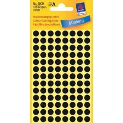 Etikety Avery Zweckform 3009 černé kolečko 8mm 416ks