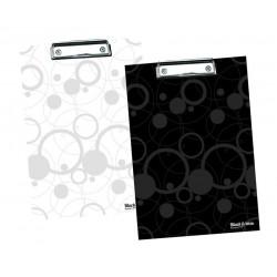 Deska psací podložka A4 horní klip Black & White černá