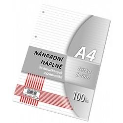 .Náhradní náplň do karis bloku A4 100listů linka Papírny Brno