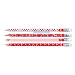 Tužka č.2 s gumou Kores trojhranná červenobílá 1 kus