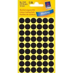Zboží na objednávku - Etikety Avery Zweckform 3140 černé kolečko 12mm 270ks