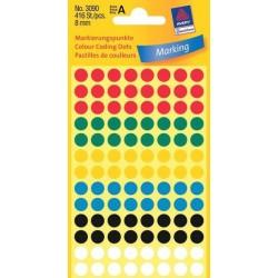 Zboží na objednávku - Etikety Avery Zweckform 3090 mix barev 8mm 416ks