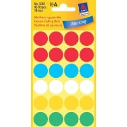 Zboží na objednávku - Etikety Avery Zweckform 3089 mix barev 18mm 96ks