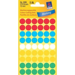 Zboží na objednávku - Etikety Avery Zweckform 3088 mix barev 12mm 270ks