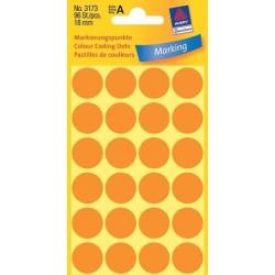 Zboží na objednávku - Etikety Avery Zweckform 3173 neon oranžové kolečko 18mm 96ks